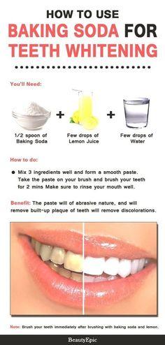 how to whiten teeth with salt 35 hydrogen peroxide teeth whitening gel Baking Soda Lemon Juice, Baking Soda Teeth, Uses For Baking Soda, Natural Teeth Whitening, Whitening Kit, Natural Toothpaste, Teeth Whitening Remedies, Hydrogen Peroxide Teeth, Beauty Tips