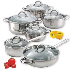 New Stainless Steel Cook Set 12 Piece With Glass Lids Pots Pans Mirror Polished #CookNHome