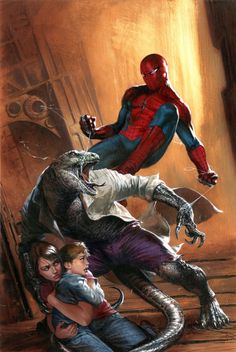Spider-Man (Peter Parker) Spider-Man vs Lizard + Martha & William Connors (Clone Conspiracy Art by abriele Dell'Otto Marvel Comics Ms Marvel, Marvel Comics Art, Bd Comics, Marvel Heroes, Amazing Spiderman, All Spiderman, Lizard Spiderman, Comic Book Characters, Marvel Characters