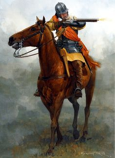 1642-1651 Guerra civil Inglesa. Parliamentarian dragoon. Dragoons charged into battle on horseback then dismounted to fight on foot.