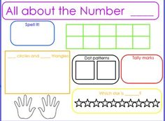 Free! Here's a flipchart file designed to focus on the numbers 0-10. These fill-in-the-blank slides include spaces to record the number, number word, tally marks, dice dot patterns, ten frame, ordinal numbers, finger counting, and an addition problem.