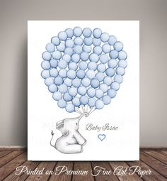 The Nursery Art Print, printed on premium quality 300gsm 16 mil fine art paper with natural white color and luster finish, serves as an Elephant Baby Shower Guest Book Alternative or can be used for birthdays, Christenings, and more! The Baby Elephant holds the balloon quantity of your choice (see drop down menus at right), in the color of your choice. Personalize it with any message and add a bow to the elephant, and/or a Heart to the Text on the right. Have your guests sign in a balloo...