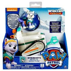 Nickelodeon PAW PATROL EVEREST'S METALLIC SNOW PLOW! Toy Dog  NEW #SpinMaster