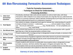 teachthought.com: 60 Non-Threatening Formative Assessment Techniques
