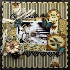 Layout designed with Spring Darjeeling flowers in Shabby Beige and Nightfall by Petaloo and Olde Curiosity Shoppe papers by G45!  Created by DT member Lisa Valentine #graphic45 #petaloo