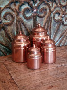 Vintage Copper Kitchen Canisters Set of Four Vintage by bohoquilts, $30.00