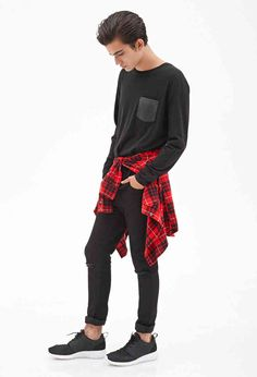 This whole look form Forever 21 MEN! Sweater, plaid shirt tied around the waist, ripped pants & sneakers!