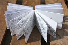 Hand made concertina sketchbook, drawings of lichen by Julia Wright