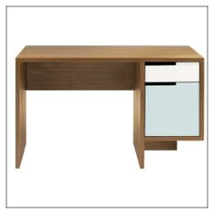 """Blu Dot Modu-licious Power Deskette by Blu Dot, finish = Walnut; drawer color = Grey Blue by Blu Dot. $999.00. W47.75"""" D23.5"""" H28.5"""" overall, Top drawer H5"""" Bottom drawer H14"""" Leg area W30.5"""". Description: Part of the award-winning Modu-licious collection. The Power deskette is the perfect mini compliment to your office, workroom, and better yet. . .junior's new school desk! Simple and purely functional, a sure bet for success.  Specifications: Materials: Hardwo..."""