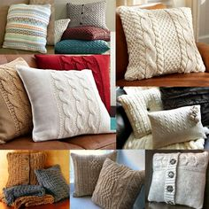 Crochet pillow cable old sweater ideas Sweater Pillow, Old Sweater, Crochet Pillow, Knitted Cushions, Knitted Blankets, Cushion Covers, Pillow Covers, Knitting Projects, Sewing Projects