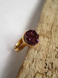 Plum Druzy Ring Titanium Druzy Quartz Gold by julianneblumlo, $64.00