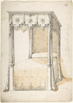 Design for a Bed and Canopy  Charles Hindley and Sons,  British, London