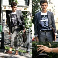 River Island Paisley Blazer, Numérology Clothing T Shirt, Cheap Monday Skinny Jeans, Buckled Shoes