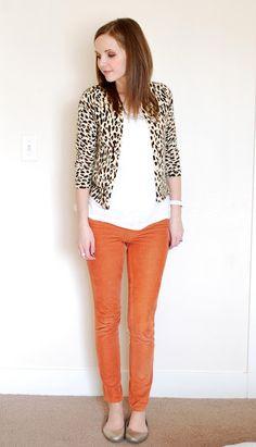 leopard print cardigan, orange pants. must buy.