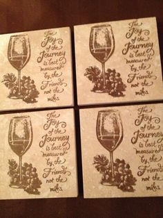 Set of 4 stamped coasters by Joanne.