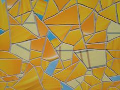Detail view of Apple Store tile mosaic in Barcelona using colors from the Notes and Weather iOS app icons