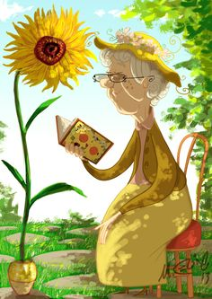 """Old Woman reading to or by a sunflower.  Bloom  """"Mrs. Gogh"""" by Marcos Llussá"""