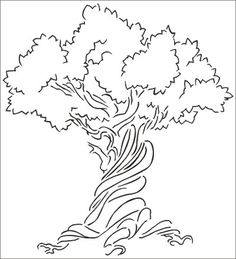 large tree template for wall - big tree wall airbrush stencil template pattern home decor