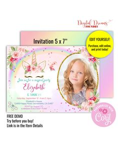 Editable Template Magical Unicorn Birthday Invitation Girl with Photo, Rainbow Unicorn Party Invite with Gold Glitter, Pink Floral Unicorn Birthday Invitations, Party Invitations, Rainbow Unicorn Party, Magical Unicorn, Online Printing, Templates, Gold Glitter, Floral, Pink