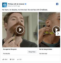 In a video carousel ad, Philips presents several use cases for its product.