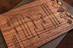 Engraved Wood Wedding Invitation - Vineyard Theme