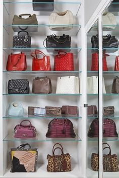 Glass shelves work for purse storage. Purses are pretty and the glass will help you focus on just the purses.