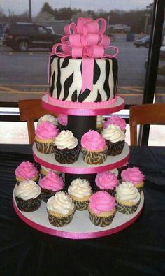 Bridal shower zebra cupcake tower