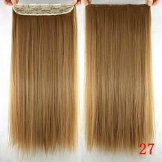 Soowee 60cm Long Straight Women Clip in Hair Extensions