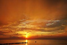 sunset, sun, clouds, sky, sea, summer, travel, holidays, orange