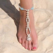 Beautiful mother of pearl with something blue barefoot sandals!