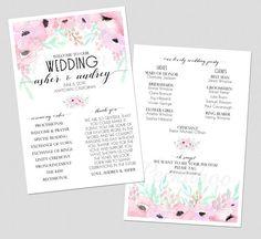Romantic Wedding Program Floral Wedding Program Classic