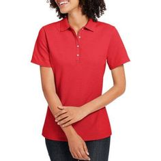 Hanes Women's X-Temp w/ Fresh IQ Short Sleeve Pique Polo Shirt, Size: Medium, Red