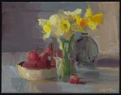 Daffodils, Red Globe Grapes, and Clock Site Design, Daffodils, Painting Inspiration, Art Museum, Still Life, Flower Power, Art Photography, Clock, Floral Paintings