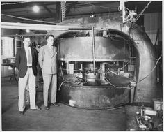 Ernest Lawrence and M. Stanley Livingston in front of the cyclotron at Berkeley