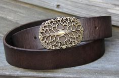 Vintage Style Dark Brown Leather Belt with by StaghoundLeather, $42.00