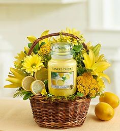 Yankee Candle® Make Lemonade™ Basket - Yellow lilies, yarrow, poms and solidago #lemonade #flowers #candles