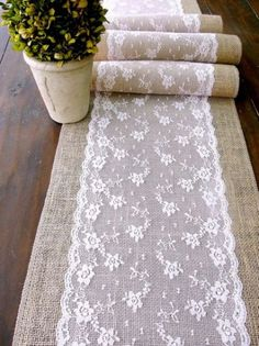 Wedding table runner, pink lace