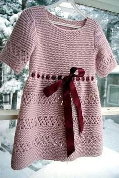 . Crochet Baby Dress Pattern, Knit Baby Dress, Knitted Baby Clothes, Hand Knitted Sweaters, Baby Sweaters, Baby Knitting Patterns, Crochet Clothes, Knitted Hats, Kids Dress Wear