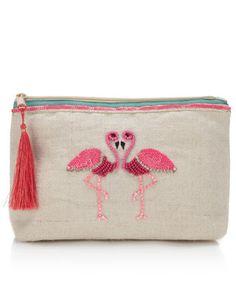 Gemma Flamingo Makeup Bag