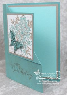 Videos Part I and II of the Corner Fold by Sage Kimble. #StampinUp Cyndy Stampin' By The Sea