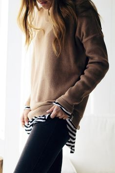 Le Fashion Blog Casual Way To Layer Your Clothes Lindsay Marcella Blogger Camel Sweater Striped T Shirt Frayed Jeans Via Lindsay Marcella