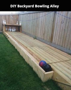 DIY backyard bowling alley. Neat!                                                                                                                                                                                 More