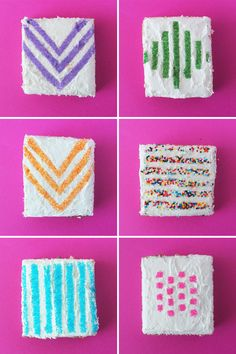 In thinking about dessert as art this week, we kept coming back to patterns. Some of the most basic patterns that are part of everyday life are actually quite beautiful, especially when recreated using sprinkles on a cake! Read on to see how we created our own striped, dotted, and chevron cake stencils using parchment paper and an Xacto knife.