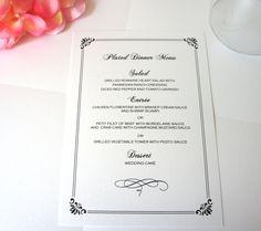 Elegant Menu Card, Formal Menu Card, Wedding Menus, Black Wedding Menu, Dinner Menu, Wedding Menu - DEPOSIT