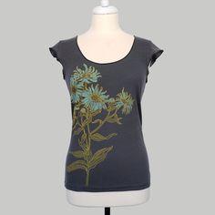 Aster Botanical Design Asphalt Scoop Neck Tee Hand by maryink, $28.00