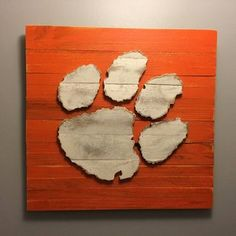 Clemson Tiger Paw Wood Sign Hand Made by barndoorstudios