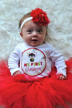 Christmas Tutu, Baby Girl Christmas Outfit, My First Christmas Outfit, Newborn Christmas, 1st Christmas baby girl,  Red Tutu on Etsy, $42.95