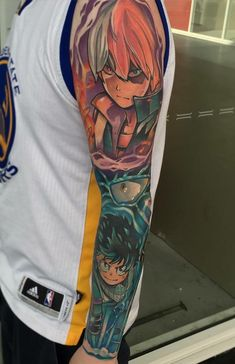Artworki thought this sub might appreciate my tattoos Anime Tattoos, Body Art Tattoos, Sleeve Tattoos, Tatoos, Hero Tattoo, Diy Tattoo, My Hero Academia, Fanart, One Punch Man