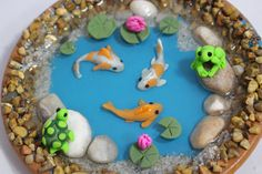 2 Handmade Miniature Koi with Lily Pads by FairyTreeMiniatures