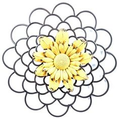 """Looking for a piece of beautiful decor that literally stands out?! Look no further than this gorgeous Black & Yellow Layered Metal Wall Flower! This pretty flower features layered black and distressed yellow petals and a textured center. Dainty, shabby-chic and whimsical, this flower will become a fast favorite!    Dimensions:      Width: 16 3/4""""    Projection: 1 7/8""""      Hanging Hardware:      1 - Keyhole Mount"""